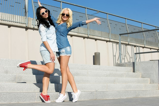 Attractive best friends outdoor