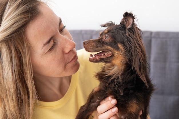 Привлекательная белокурая женщина с забавным коричневым русским той терьером. посмотрите друг на друга. концепция ухода за домашними животными.