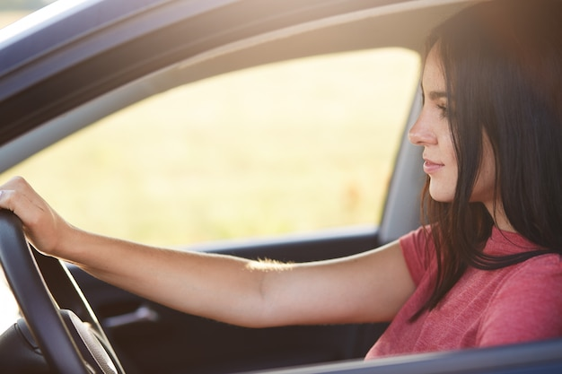Attractive brunette female driver with confident expression looks at windshield, enjoys high speed and good roads