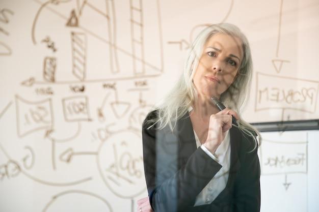 통계 데이터를보고 생각 하 고 매력적인 사업가입니다. 마커를 들고 사무실 방에 서 자신감이 풍부한 사려 깊은 여성 관리자. 전략, 비즈니스 및 관리 개념
