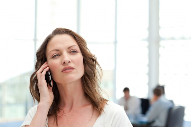 Attractive businesswoman on the phone while her team is working