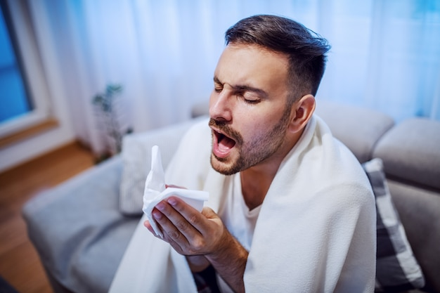 Attractive caucasian unshaven man sitting on sofa in living room covered with blanket, holding handkerchief and sneezing.