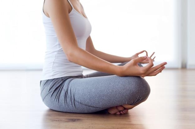 Attractive exercise smile yoga serene
