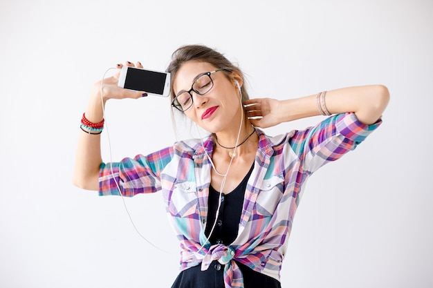 Attractive female in glasses enjoying life
