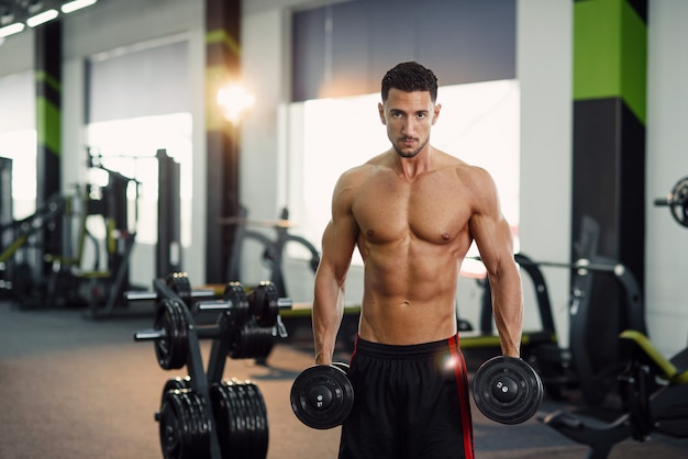 매력적인 피트 니스 남자 체육관에서 훈련 팔 뚝 동안 아령 운동. 스포티하고 건강한 개념.