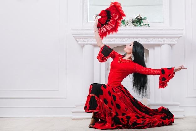 燃えるようなダンスを披露する魅力的なフラメンコダンサー