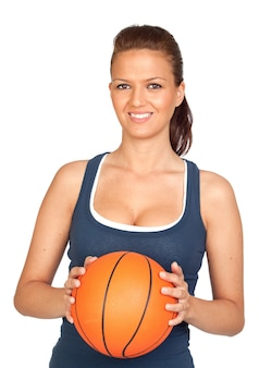 Attractive girl with basketball isolated