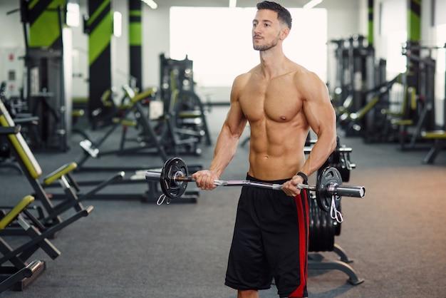 현대 체육관에서 바벨과 팔뚝 운동을하는 매력적인 남자. 스포티하고 건강한 개념.