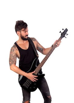 エレクトリックベースを弾く黒の魅力的な男