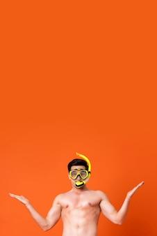 Attractive happy shirtless american man wearing snorkel