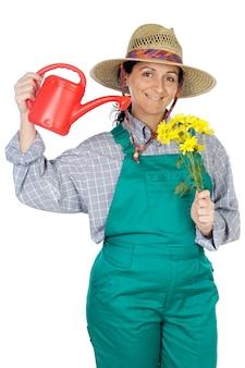 Привлекательная счастливая женщина одет садовник