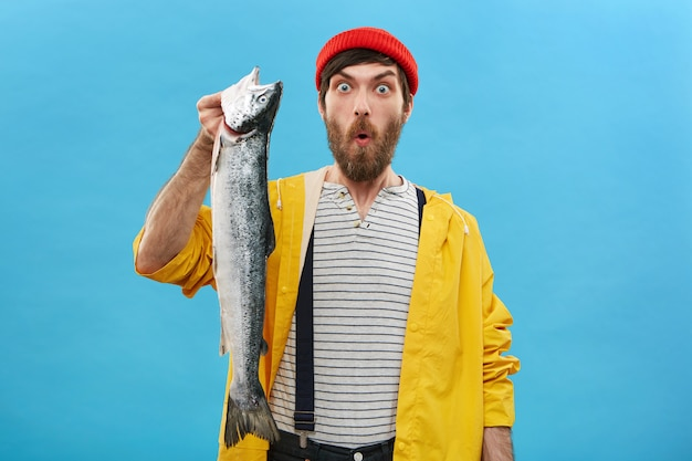 Attractive male with beard dressed in red hat, yellow raincoat and overalls holding huge fish looking with bugged eyes and opened mouth having shock not catching such big fish before