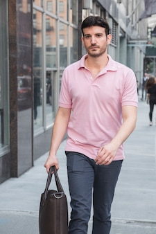 Attractive man heading to work