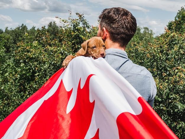 매력적인 남자는 맑고 화창한 날에 푸른 하늘 배경에 매력적인 강아지를 보유하고 있습니다. 야외, 클로즈업. 공휴일 개념