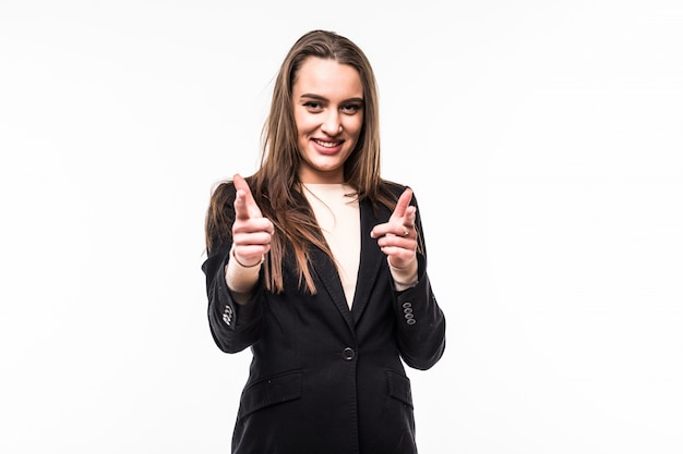 Attractive professional woman wearing black dress suite shows on you isolated on a white.