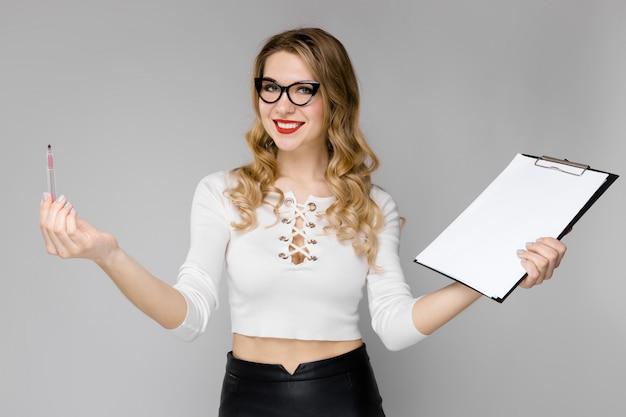 Attractive secretary in formal clothes