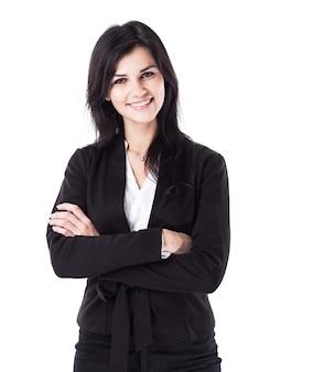Привлекательная, успешная деловая женщина, уверенно смотрящая в камеру