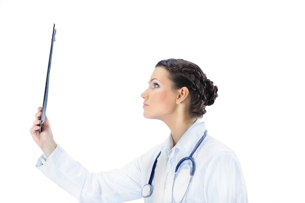 Attractive woman doctor with the results of the study. isolated on a white background.
