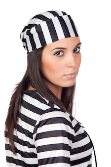 Attractive woman dressed in prisoner isolated on white background