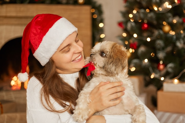 Attractive woman holding in hands pekingese puppy with re bow in teeth, lady looks at her pet with great love, female wearing santa hat and white jumper, posing in festive living room with fireplace.