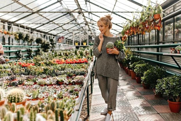 헐렁한 세련된 바지와 스웨터를 입은 매력적인 여성은 집에 식물을 선택하고 즙을 유지합니다.