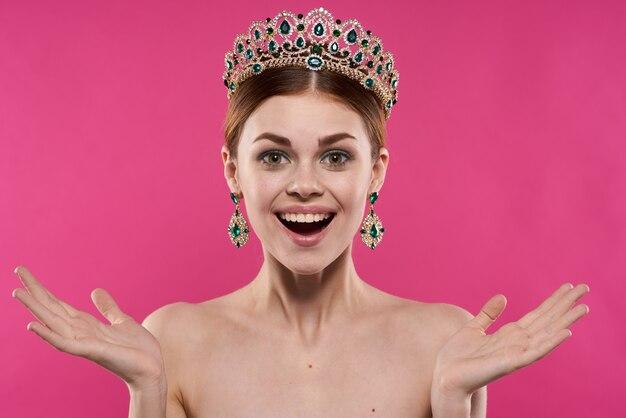 Attractive woman luxury naked shoulders cosmetics fashion fun studio model