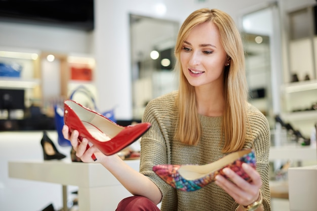 Attractive woman making hard decision