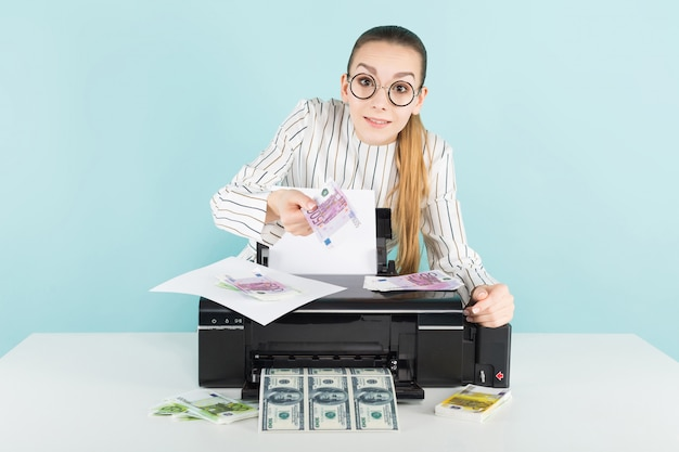 Attractive woman printing cash