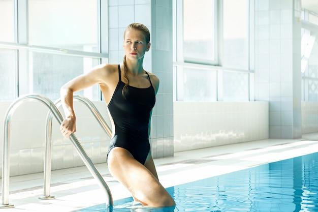 Attractive woman swimmer