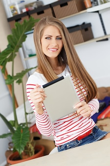 Attractive woman with tablet