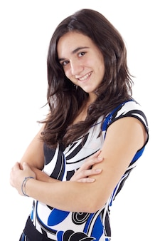 Attractive young casual girl a over white background