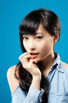 Attractive young girl of asian, closeup portrait