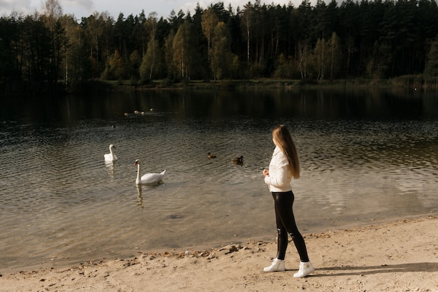 Attractive young girl on the shore of the lake feeding swans, outdoor recreation