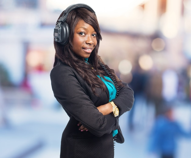 Attractive young woman posing with headphones