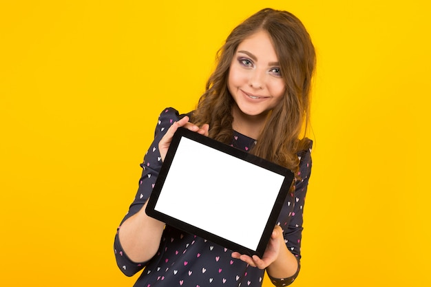 Attractive young woman with tablet pc