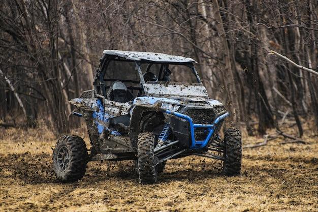 Atv adventure. buggy extreme ride on dirt track. utv