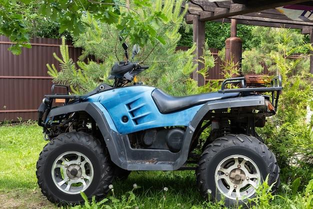 Atv quad bike of blue color prepared for the trip.