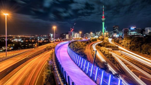 Окленд ночной город, новая зеландия