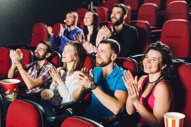 Audience applauding to movie