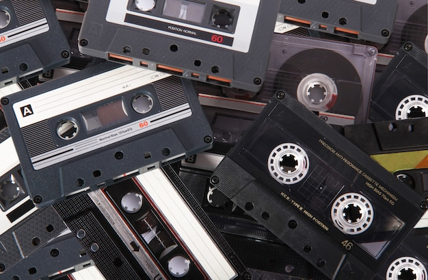 Audio cassette tape on texture background