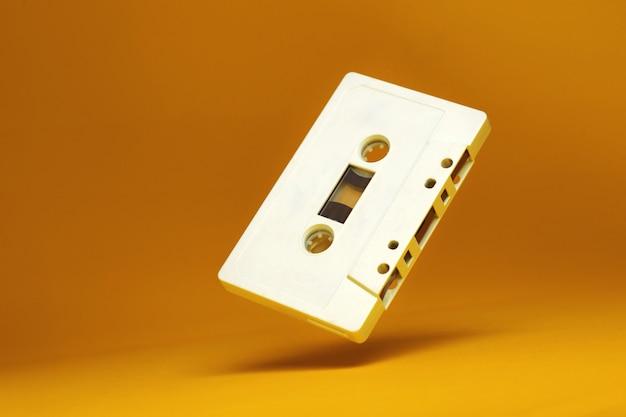 Audio cassette. vintage white audio cassette tap
