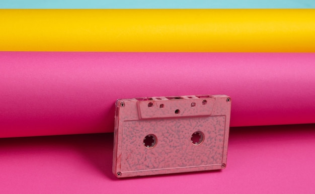 Audio cassette on wrapped paper