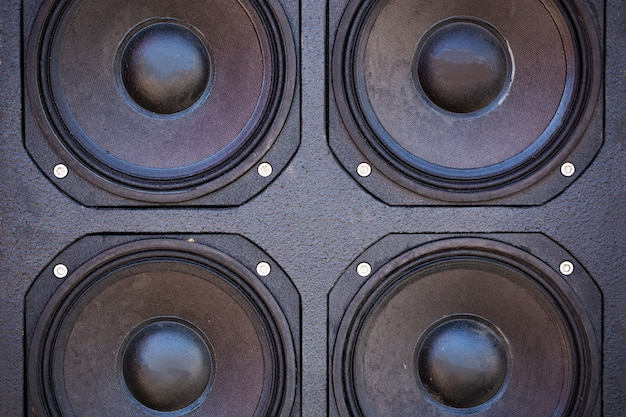 Audio columns are a system of several pieces. close-up audio systems