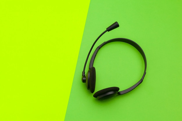 Audio headset on green and yellow