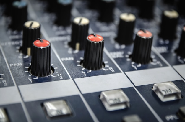Audio mixer console and professional sound mixing.