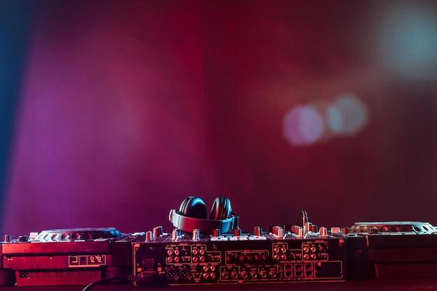 Audio mixer on dark background