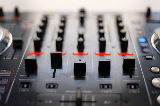 Audio mixing console. reduction of music. dj instrument
