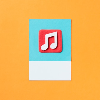 Audio musical note icon illustration