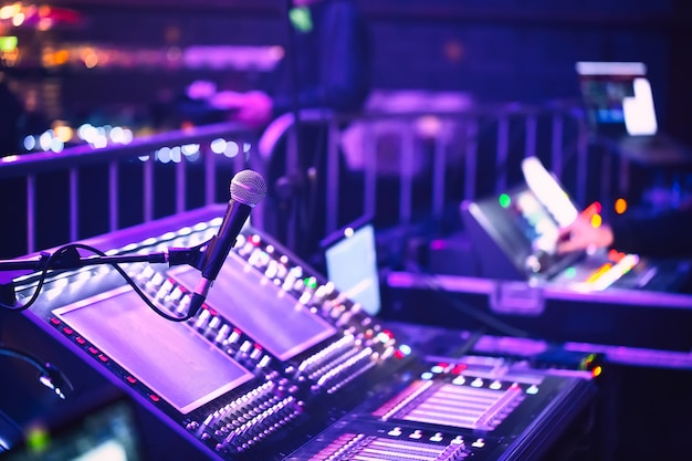 Audio sound mixer console with microphone