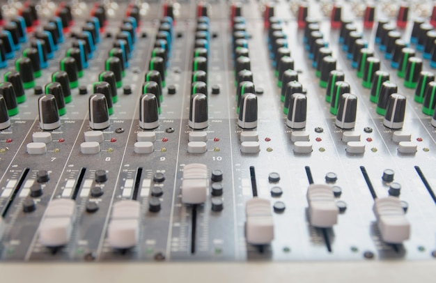 Audio sound mixer control panel. sound console buttons for adjust the volume